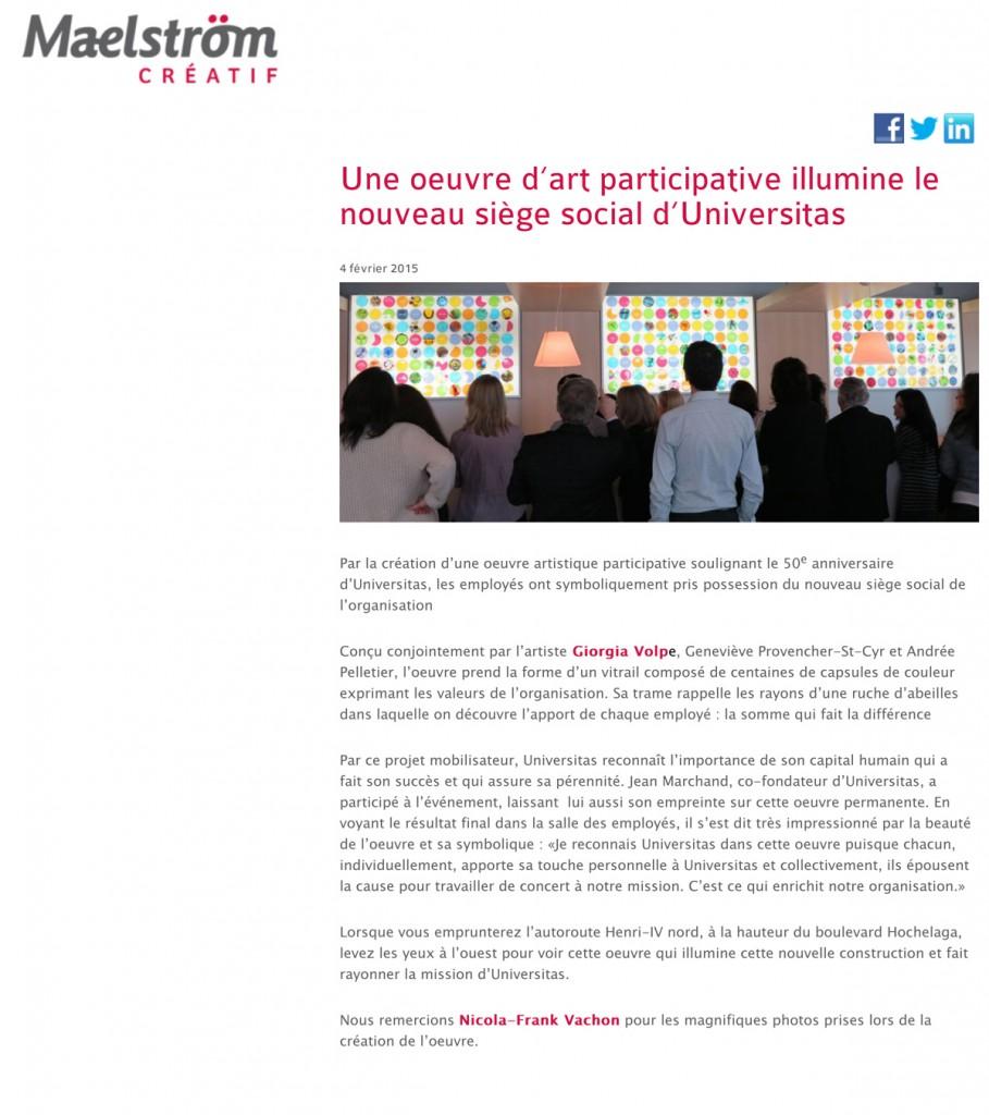 Une oeuvre dÕart participative illumine le nouveau sige social