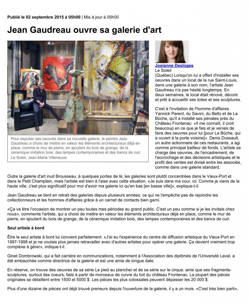 Jean Gaudreau ouvre sa galerie d'art | Josianne Desloges | Expos
