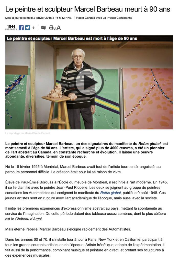 Le peintre et sculpteur Marcel Barbeau meurt ˆ 90 ans | ICI.Radi