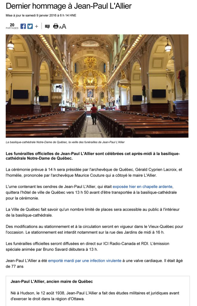 Dernier hommage ˆ Jean-Paul L'Allier | ICI.Radio-Canada.ca